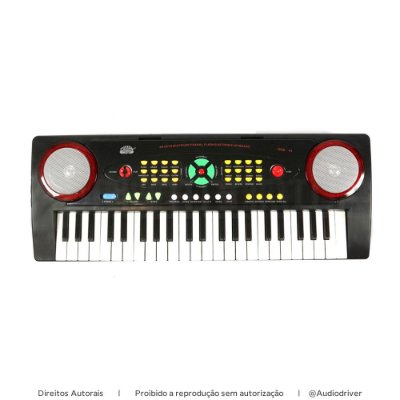 Teclado Infantil Custom Sound 44 Teclas C/ microfone CKKB 44 BK