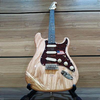 Guitarra Strato Vintage SWAMP em ASH SSTASHR Natural Escudo Perolado - SX