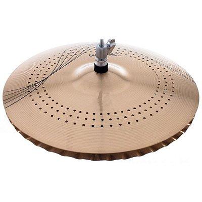"Prato Hi Hat Medium 14"" Whisper WS14MH com Micro Furos em Bronze B10 - Orion"