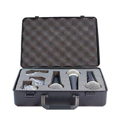 Kit com 3 Microfones Dinâmicos Cardioide LCM1800 C/ Maleta e Cachimbo - Lexsen