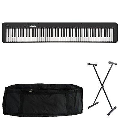Kit Piano Digital Casio CDP-S100 BK com Capa estofada e Suporte