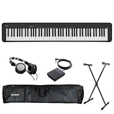 Kit Piano Digital Casio CDP-S100 BK com Capa estofada, Suporte, Pedal Sustain e Fone