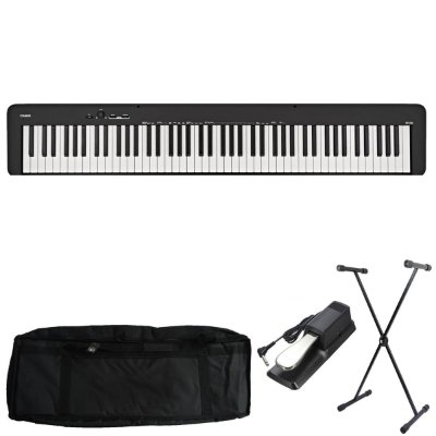 Kit Piano Digital Casio CDP-S100 BK com Capa, Suporte e Pedal Sustain