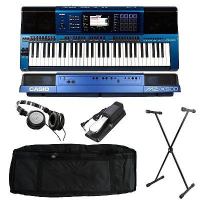 Kit Teclado Casio Arranjador e Sintetizador MZ-X500 61 Teclas Azul com Capa estofada, Suporte, Pedal Sustain e Fone