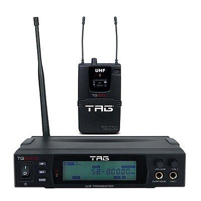 Monitor sem fio TG-9000 c/ freq variavel digital UHF c/ receptor bodypack true - Tag Sound
