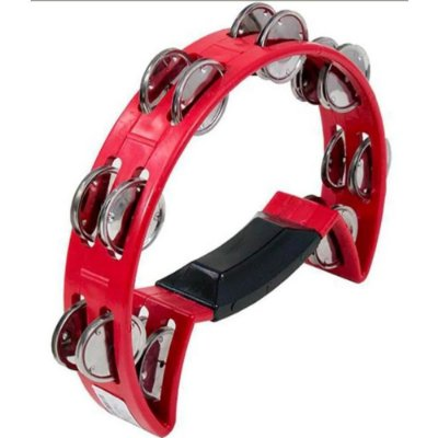 Pandeirola Meia Lua ABS Platinela Inox Com pegador Vermelho - Luen