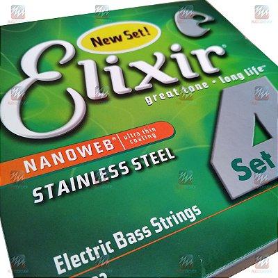 Encordoamento Baixo 4 Cordas 050 Nanoweb Medium L.S. - Elixir