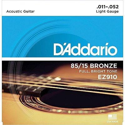 Encordoamento Violão Aço 011 EZ910-B+PL011 - D'addario
