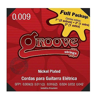 Encordoamento Guitarra 009 GFP1 Nickel Plated NPS 8% Fullpack Com 4 Cordas Extras - Groove