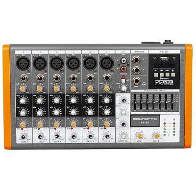 Mixer Mesa de Som 6 Canais Mono + 1 Stereo SV80 - Soundpro