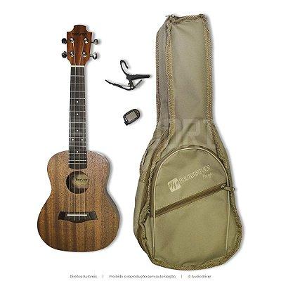 Kit Ukulele Concert Benson UB-24 Capo Afinador Capa Especial Embalagem - Audiodriver