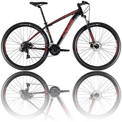 BICICLETA ARO 29 OGGI HACKER SPORT 2021 - TAMANHO 15.5 | PRETO, VERMELHO E DOURADO
