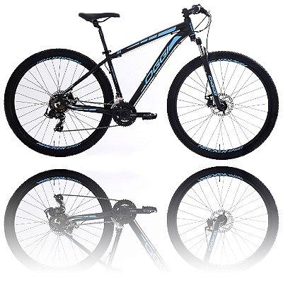 BICICLETA ARO 29 OGGI HACKER SPORT 2020 - TAMANHO 19 | PRETO E AZUL