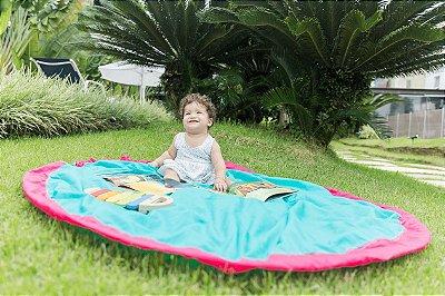Tapete de Brincar que vira Bolsa - Azul Turquesa + Pink - Baby & Me