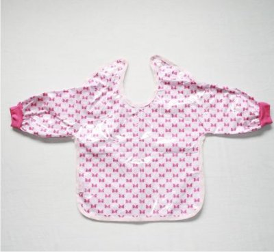 Babador com Manga BLW Laços Rosa - Colo de Mãe