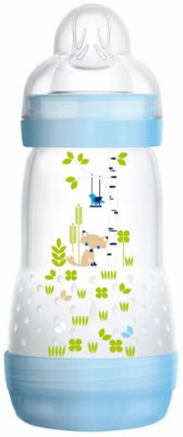 Mamadeira First Bottle Anti-Cólica e Auto-Esterilizável 260ml Azul - MAM