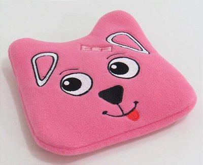 Almofada Térmica de Ervas Naturais para Alívio das Cólicas e Gases (Pelúcia) Cachorro Rosa - Bebê sem Cólica