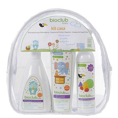 Kit Necessaire Casa (Detergente Mamadeira + Limpeza de Superfícies + Limpeza de Frutas e Vegetais) - Bioclub Baby