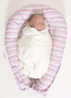 Ninho U-Baby Redutor de Berço Chevron Rosa Colorido - Colo de Mãe
