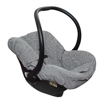 Capa para Bebê Conforto Chevron Preto - Candytree