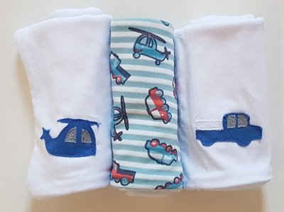 Pano de Boca para Bebê (3 unidades) Transportes - Colo de Mãe