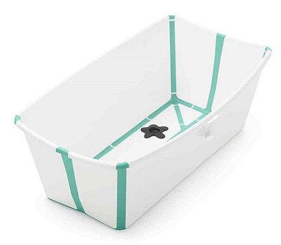 Banheira Dobrável Flexi Bath Branca com Verde - Stokke