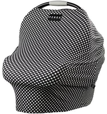 Capa Multifuncional para Mamãe e Bebê (5 funções) Xadrez Branco e Preto - Penka Cover