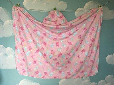 Toalha Infantil (Tamanho Grande) Sorvete Rosa - Colo de Mãe