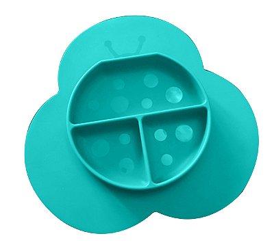 Prato de Silicone com Jogo Americano Joaninha (Permite Freezer e Microondas) - Girotondo Baby