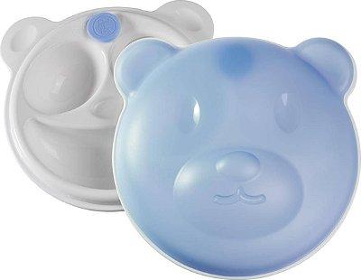 Prato Térmico com Ventosa e Tampa Urso Azul - Girotondo Baby