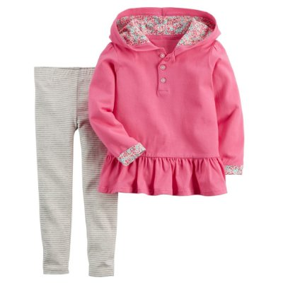 Conjunto de 02 Peças Calça Listrada e Blusa Rosa Menina 12 Meses