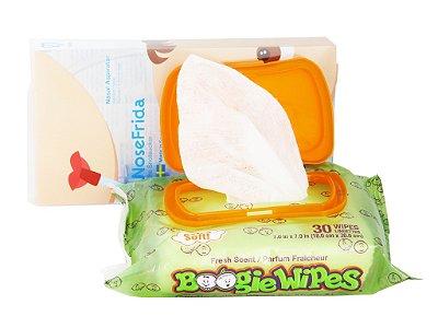 COMBO - NoseFrida Aspirador Nasal + Lenços umedecidos Boogie Wipes anti resfriado