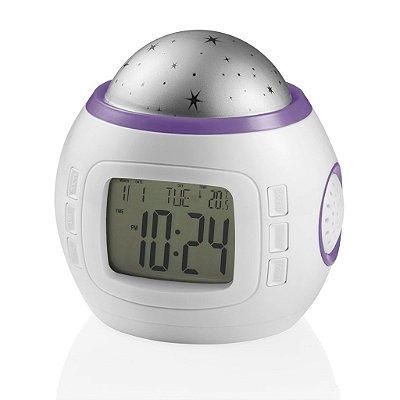 Projetor de Luz Com Relógio/ Termômetro/ Música (Roxo e Azul) - Multikids Baby
