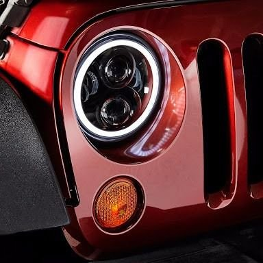 FAROL FULL LED JEEP WRANGLER COM ANGEL EYES E SETA LARANJA