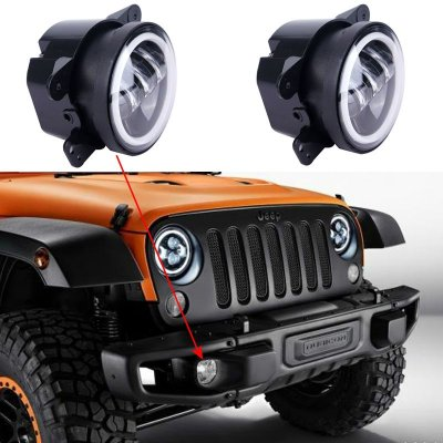 Farol Milha LED Jeep Wrangler e Cherokee Com Angel Eyes PAR