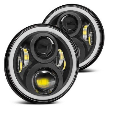 FAROL FULL LED JEEP, F75 E RURAL  ANGEL EYES E SETA LARANJA