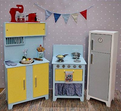 Kit cozinha amarela e cinza