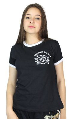 Camiseta Baby Look New Custom Rose