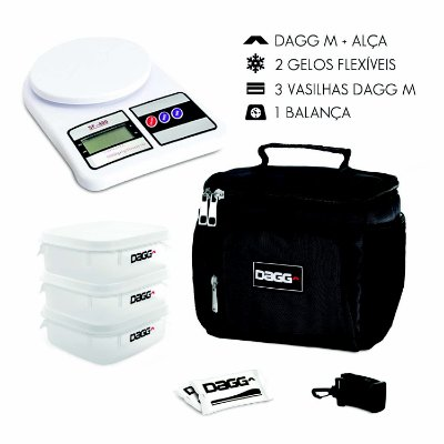 Kit Bolsa Térmica Fitness Dagg - Preta M + Balança Digital
