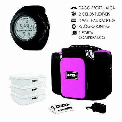 Kit Bolsa Térmica Fitness Rosa G + Relógio Dagg Running