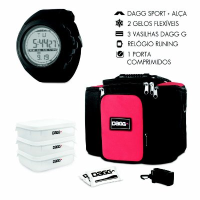 Kit Bolsa Térmica Fitness Vermelha G + Relógio Dagg Running