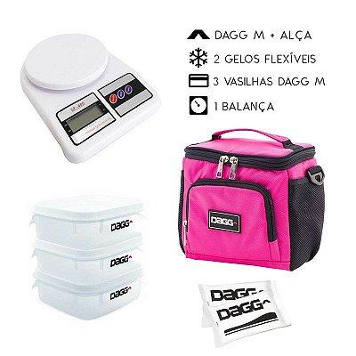 Kit Bolsa Térmica Fitness Rosa M + Balança Digital
