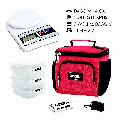 Kit Bolsa Térmica Fitness Vermelha M + Balança Digital