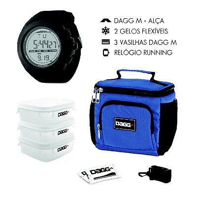 Kit Bolsa Térmica Fitness Azul Royal M + Relógio Dagg Running