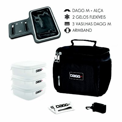 Kit Bolsa Térmica Fitness Preta M + Braçadeira Dagg Armband