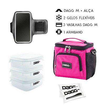 Kit Bolsa Térmica Fitness Rosa M + Braçadeira Dagg Armband
