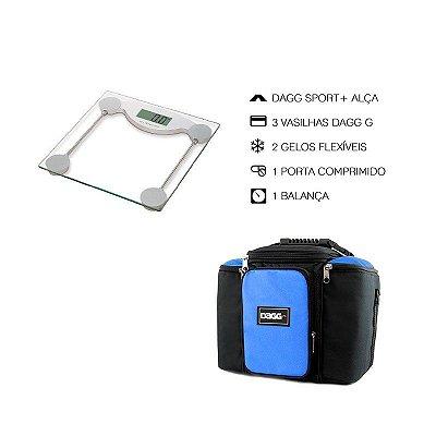 Kit Bolsa Térmica Fitness Azul G + Balança Digital Alta Precisão