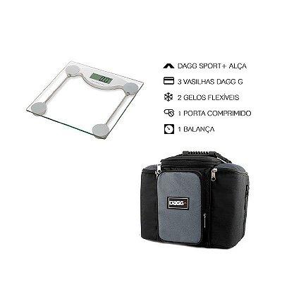 Kit Bolsa Térmica Fitness Cinza G + Balança Digital Alta Precisão