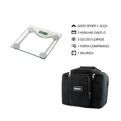 Kit Bolsa Térmica Fitness Preta G + Balança Digital Alta Precisão