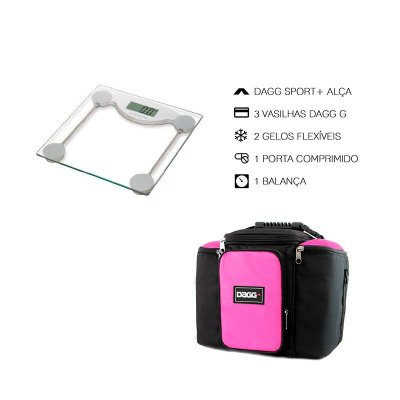 Kit Bolsa Térmica Fitness Rosa G + Balança Digital Alta Precisão